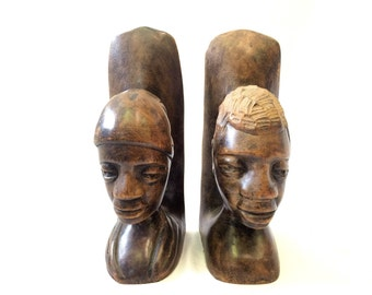 Carved Wooden African Bookends