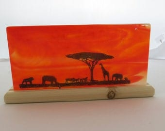 African silhouette fused glass panel