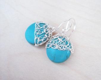 Turquoise silver earrings.Crochet wire earrings.Knitt turquoise earrings.Gem stone earrings. Romantic Dainty earrings Wire crochet lace mesh