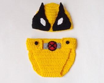 Wolverine Marvel Costume Hat And Diaper Cover, Wolverine Beanie- Superhero Hat  Newborn Child X-Men - Halloween / Cosplay
