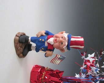 Little Uncle Sammy, Polymer Elf, Polymer Clay Figure, Fantasy Figure, Fourth of July, Patriotic Clay Figure