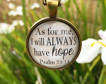Psalm 71:14 Bible Verse Pendant Necklace