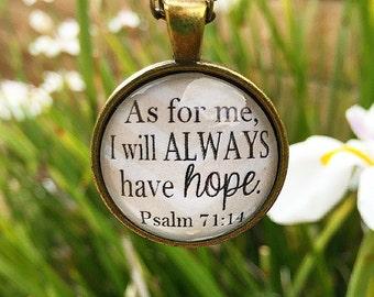 Psalm 71:14 Bible Verse Pendant Necklace