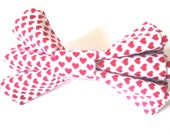 Dog bow tie Dog collar bow tie White and pink bow tie