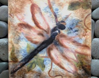 Original encaustic painting - Dragonfly, mixed media, encaustic art