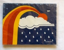 Vintage Marushka Rainbow Fabric Art Print 70s 1970s ScreenPrint Rain Cloud 70s 1970s Retro