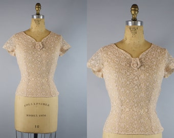 1940s Lace Blouse / Fitted Blouse