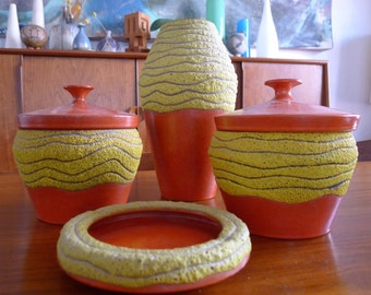 Amazing set of 5 Bitossi style vases and canisters made in Italy, Lava glaze, Mid Century Modern Pottery