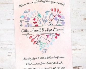 Printable 5x7 Watercolor Floral Heart Engagement Party or Bridal Shower Invitation: HeartSpring