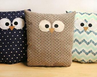 Owl Pillow - Custom - Large - Choose From Multiple Patterns!