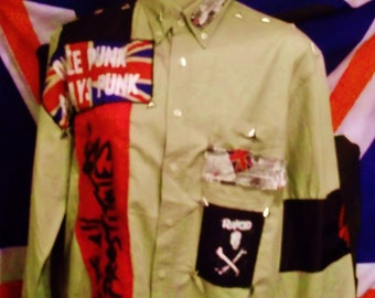 Bespoke/original punk rock-bespoke-ORIGINAL-cream-Principles-SHIRT-Size-M-with-patches