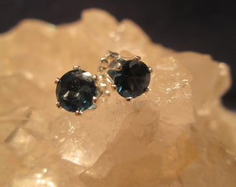 London Blue Topaz Post Earrings 6 mm Round  ~Sterling Silver~
