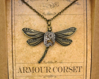 Steampunk Pendant Necklace, Steampunk Jewelry, Dragonfly, Gothic Pendant, Watch Parts Necklaces, Industrial Pendant, Handmade, Steampunk