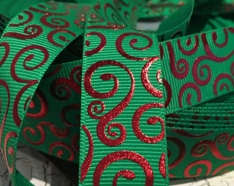 "3 yards 7/8"" Christmas Red swirl loop on green grosgrain ribbon"