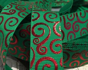 """3 yards 7/8"""" Christmas Red swirl loop on green grosgrain ribbon"""