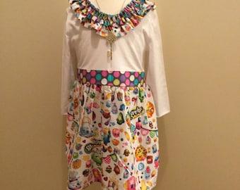 Shopkin dress, Shopkin girls , shopkin size 18m to 12y, Shopkin custom made, Shopkin party dress, Shopkin ruffle neckline, Shopkin color