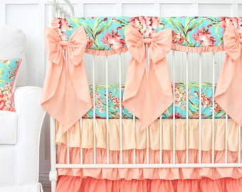 Coral Camila Ruffle Bumperless Crib Bedding Set | Bright Floral Girl Crib Set | Aqua, Coral, Floral, and Scalloped Teething Guard | Crib Bow