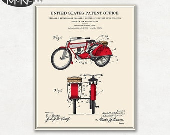 MOTORCYCLE SIDECAR PATENT, Vintage Fine Art Print Poster, Colour, Blueprint, or Black and White