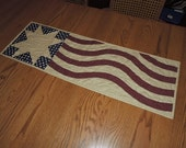 """Quilted American Flag Runner in Burgundy, Tan and Navy Blue     36"""" x 12"""""""