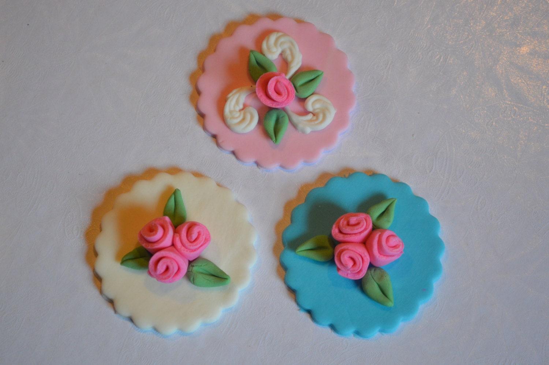 12 Fondant Flower Rose Cupcake toppers by CakestorememberLLC