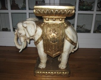 Classic,Vintage Ivory & Gold Ceramic Ornamental Elephant Plant/Display Stand Table...