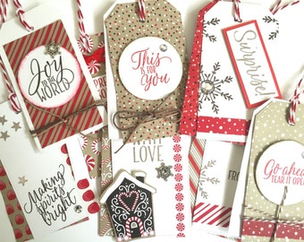 8 Large Handmade Heavily Decorated Stampin'up Candy Cane Themed Christmas Festive Gift tags for Presents