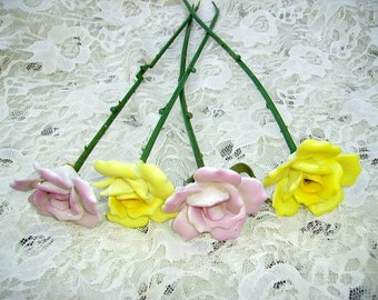Vintage Porcelain Long Stem Roses Pink and Yellow