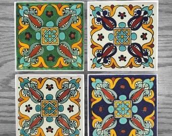 Mexican Arteaga Tile Coaster Set