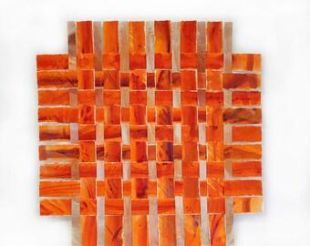 Orange Paper Weaving- Original Acrylic Mixed Media- Woven Art- Contemporary Decor- Square- 14x14