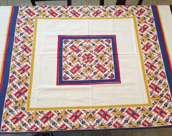 Cheerful Vintage Primary Color Tablecloth