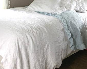 Shabby Chic Bedding White Linen Duvet Cover French Girls Room Romantic Bedspread Luxury Bedding Belgian Linen