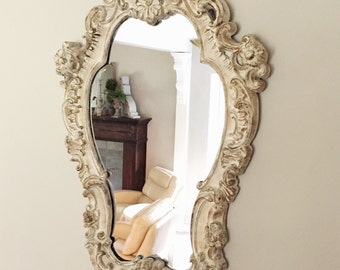 Large Ornate Mirror Shabby Chic French Nordic Style Nursery Distressed