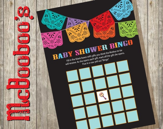 baby shower bingo mexican fiesta shower game cards instant download