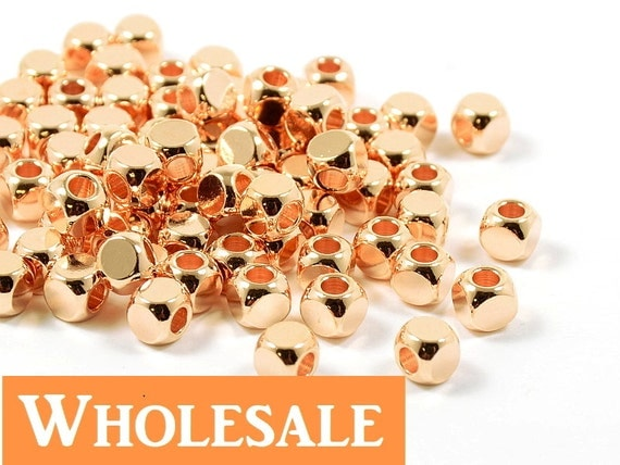 4mm Rose Gold Cube WHOLESALE, Pink Cornerless Square Cube Beads, Rounded Square Metal Beads, Metal Cubes - 100 PCS/ order