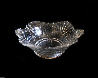 """Cambridge Glass Caprice Crystal Clear 5.25"""" Square Tab Handled Bowl Line 151"""