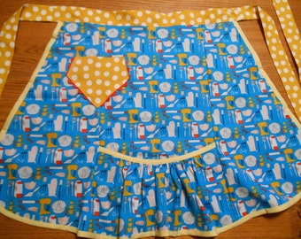 Vintage Style Half Apron with Retro Kitchen Utensils Print