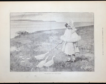 1890 Little Girl Engraving Large size 11 1/2 x 16 We Are SEven by W. Mouat Loudan & Combermere Abbey by G. Montbard