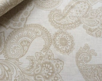 Linen fabric Floral Beige - 100% Linen - Printed Linen fabric - by the metre