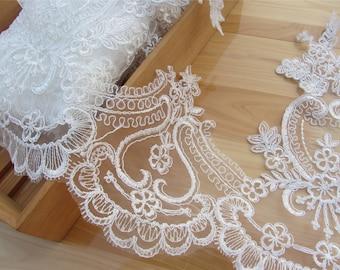 "1yard Ivory Alencon Lace Trim Embroidered Retro Tulle Lace Wedding Veil Bridal Lace Trim-width 30cm(11.8"")"