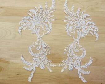 cord lace appliques by pair,Lace applique,Wedding dress applique-S1446C