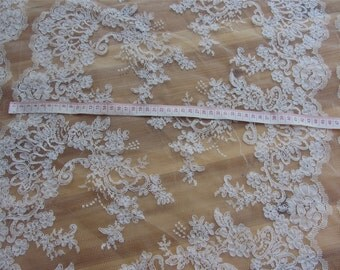 white Corded Lace Fabric,off white wedding lace fabric-LSMB009