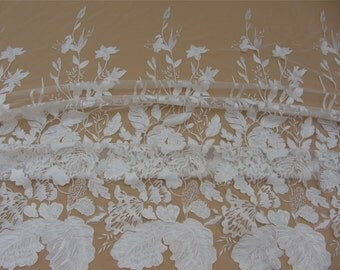 white lace fabric ,wedding lace ,grass and leaves embroidery lace -9155,skirt lace fabric