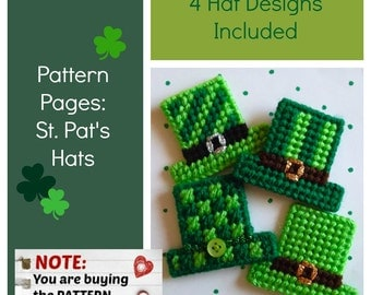 "Plastic Canvas Pattern Page: ""St. Pat's Hats"" (4 designs, graphs and photos, no written instructions) ***PATTERN ONLY!***"