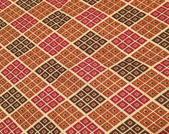 Vintage Mid Century Diamond Print Fabric 1950's-1970's Cotton or Cotton Blend 3+ Yards
