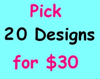 SALE 20 Embroidery Designs for 30 dollars!