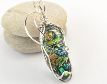 Green Dichroic Glass Necklace - Wire Wrapped Pendant - Green Fused Glass - Dichroic Glass Pendant - Dichroic Glass Jewelry