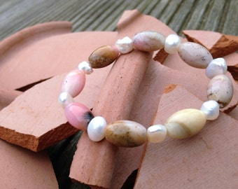 Opal and Freshwater Cultured Pearl Bracelet