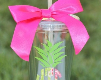 Personalized Lily Pulitzer Monogram Cup Monogram Tumbler Personalized 16 oz Acrylic Tumbler Cup Birthday Bridesmaid Graduation Gift