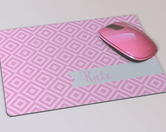 Fabric Mousepad, Mousemat, 5mm Black Rubber Base, 19 x 23 cm - Pink Diamond Patterned Customised Mousepad Mousemat