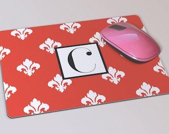 Fabric Mousepad, Mousemat, 5mm Black Rubber Base, 19 x 23 cm - Red and White Fleur De Lys Patterned Monogrammed Mousepad Mousemat
